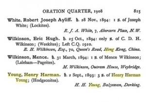 Henry Harman Young Charterhouse Register © Ancestry.co.uk