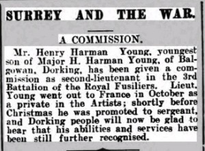 Henry Harman Young Commission Notice. Dorking Advertiser © findmypast.co.uk