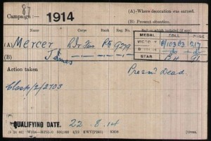 James Mercer Army Medal Roll Index Card © Ancestry.co.uk