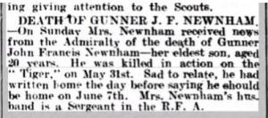 John Francis Newnham Death Notice © findmypast.co.uk