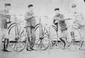 Lewis Saubergue and his velocipede