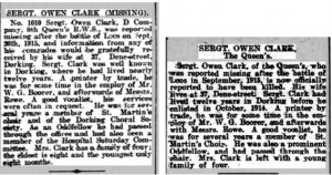 Owen Clark Death Notice Dorking Advertiser © findmypast.co.uk