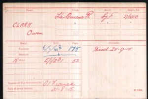 Owen Clark Medal Roll Index Cards © Ancestry.co.uk