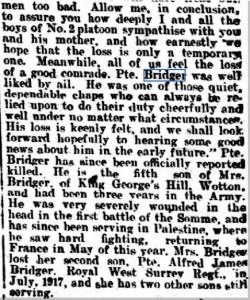 Percy Bridger Death Notice © Dorking Advertiser. British Library