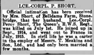 Percy Short Death Notice © Dorking Advertiser findmypast.co.uk