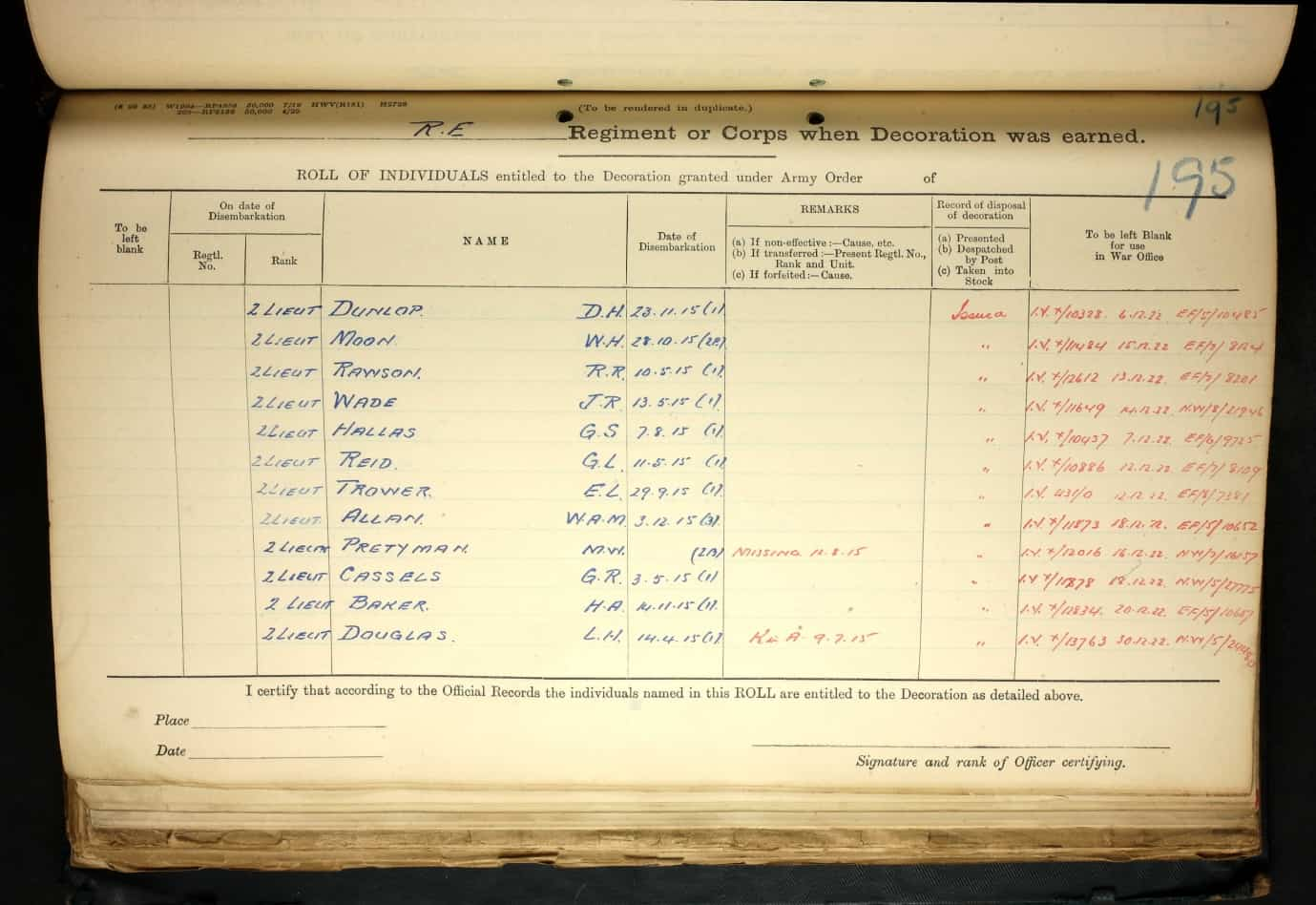 Pretyman Medal Roll 2 © Ancestry.co.uk - Dorking Museum & Heritage Centre