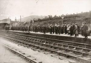 Queen's Royal West Surrey Regiment leaving Dorking after mobilisation - 5 Aug 1914