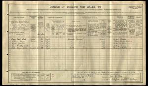 Lilian Hunt 1911 Census © Ancestry.com