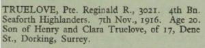 Reginald Truelove Thiepval Memorial Roll of Honour © CWGC.org.uk