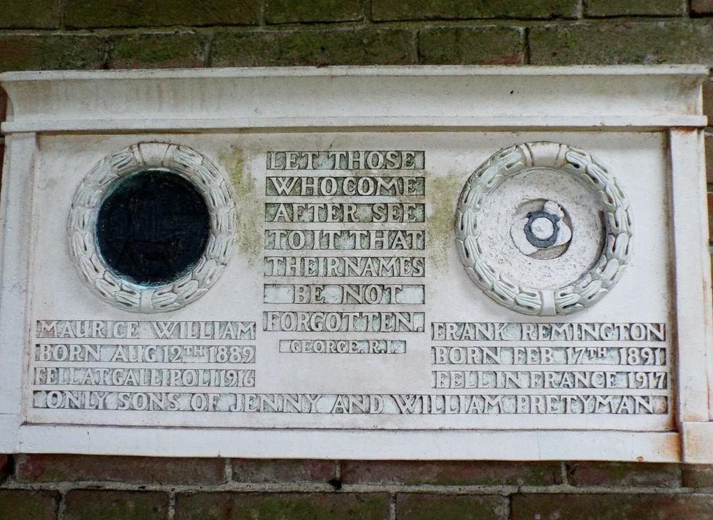 Remington-Pretyman plaque © Compton Cemetery