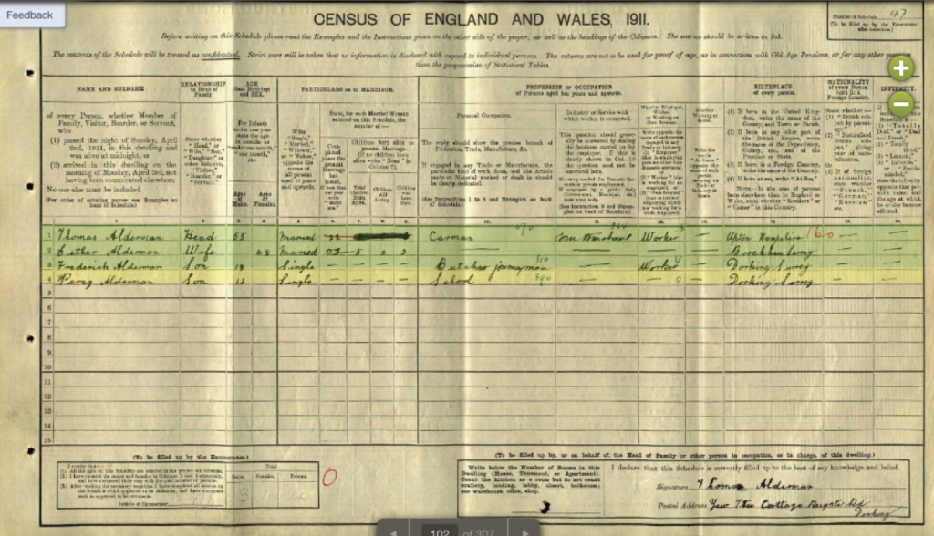 TP Alderman Census Entry