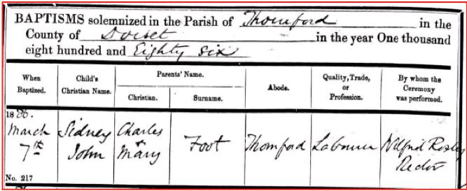 Sidney Foot 1886 Baptism Certificate © Ancestry.co.uk