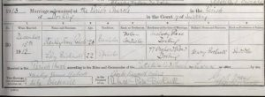 Stanley James Roberts and Lily Bicknell Marriage Certificate © ancestry.co.uk