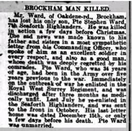 Stephen Ward Death Notice Dorking Advertiser © findmypast.co.uk