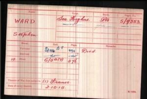 Stephen Ward Medal Roll Index Card © findmypast.co.uk