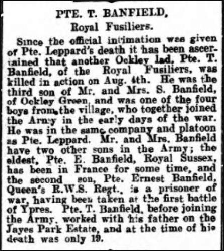 Thomas Banfield Death Notice 14th August 1916 © Dorking Advertiser