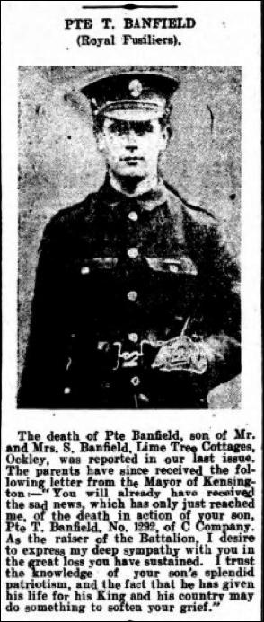 Thomas Banfield Death Notice 21st August 1916 © Dorking Advertiser