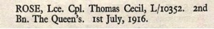 Thomas Cecil Rose Thiepval Memorial Roll of Honour © CWGC.org