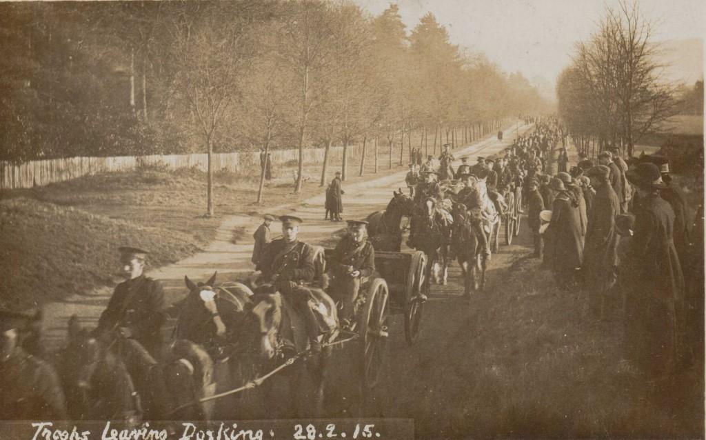 Troops leaving Dorking 28 Feb 1915