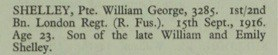 William George Shelley Thiepval Memorial Roll of Honour © CWGC.org
