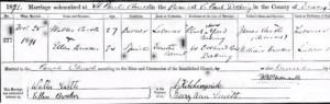 Walter Castle Marriage Certificate © Ancestry.co.uk