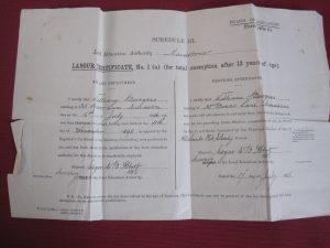 William Burgess Labour Certificate © Jane Stevens