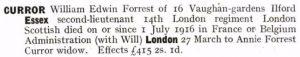 William Curror Probate Calendar © ancestry.co.uk