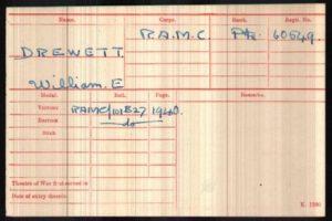William Edward Drewett WW1 Medal Rolls Index Cards © Ancestry.co.uk