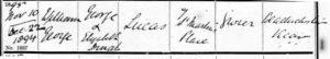 William George Lucas Baptism Certificate © ancestry.co.uk