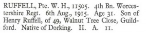 William Henry Ruffell Death Notice © Ancestry.co.uk