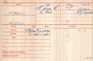 William Kippin Medal Roll Index Card © Ancestry.co.uk
