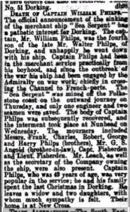 William Philps Death Notice © Findmypast.co.uk