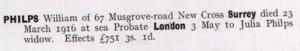 William Philps Probate © ancestry.co.uk