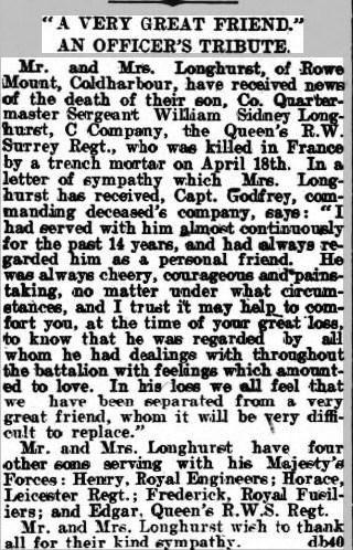 William Sydney Longhurst Death Notice © Dorking Advertiser findmypast.co.uk