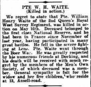 William Waite Death Notice © Dorking Advertiser Local World Limited
